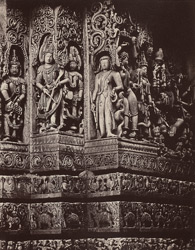 Hullabeed. The Great Temple. Sculptures from south-west angle of pavilion in centre of west front. [Hoysaleshwara Temple, Halebid.]